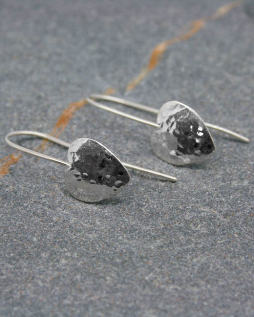 Sterling silver hammered heart drop earrings