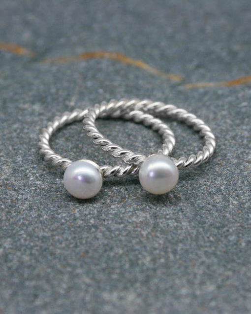 Pearl ring on a twisted wire sterling silver band