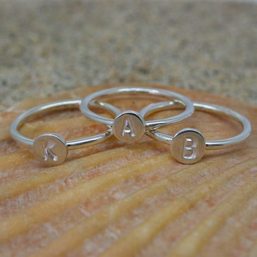 Personalised initial letter sterling silver disc stacking ring