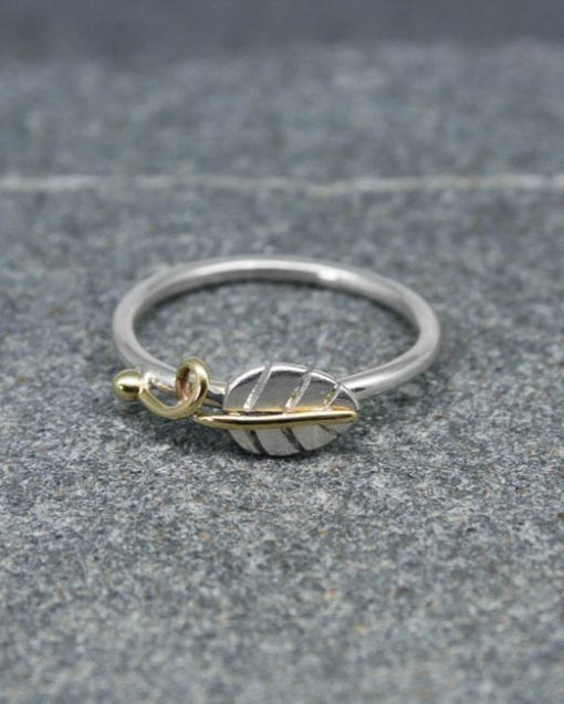 Sterling silver stacking leaf ring with silver, copper or brass vine and bead 1