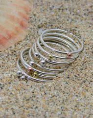 Skinny sterling silver stacking bead ring in mixed metals