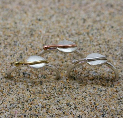 Sterling silver leaf stacking ring with silver, copper or brass centre and bead 1