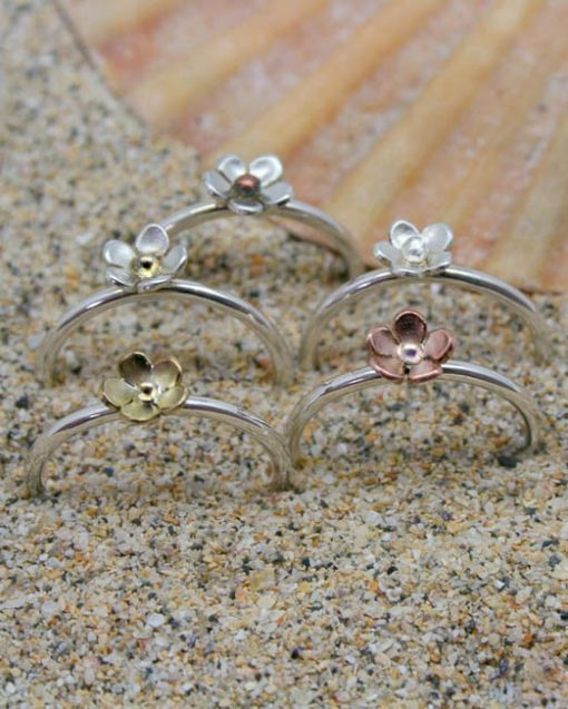 Sterling silver stacking flower ring in mixed metals