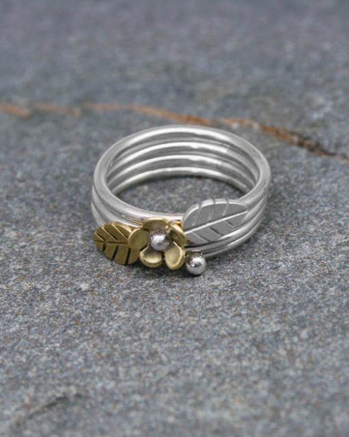 Sterling silver stacking ring with copper leaf, silver leaf or brass leaf