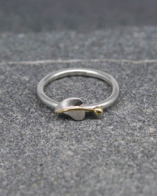 Sterling silver wavey leaf stacking ring with silver, copper or brass centre and bead