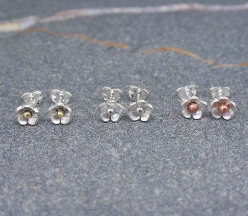 Small sterling silver or mixed metal daisy flower earrings