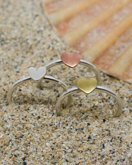 Single sterling silver stacking ring with silver heart, brass heart or copper heart