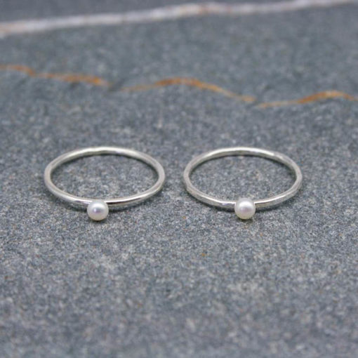 Single sterling silver and small pearl stackable skinny ring