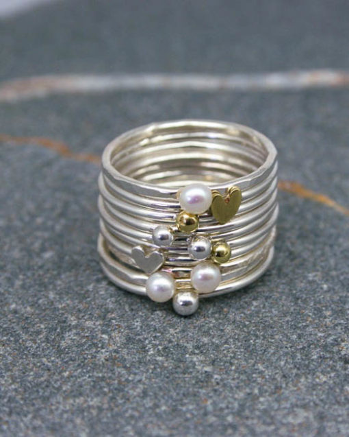 Pearl and mixed metal stacking rings