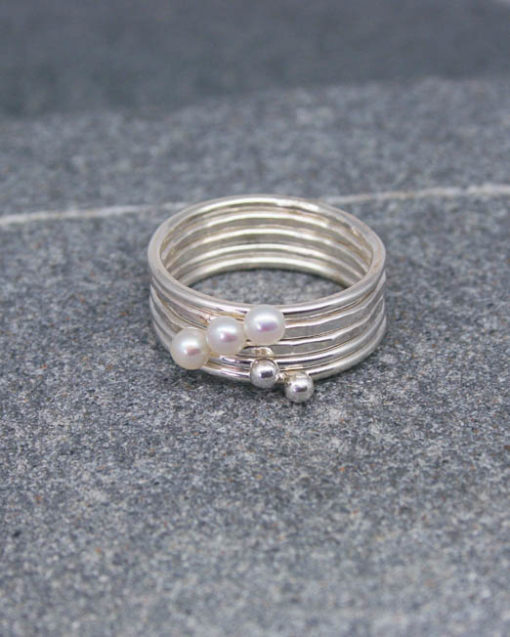 Sterling silver and small pearl stackable skinny rings