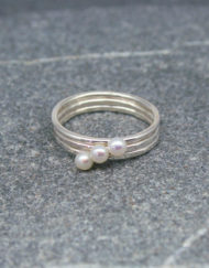 Sterling silver and small pearl stackable skinny ring
