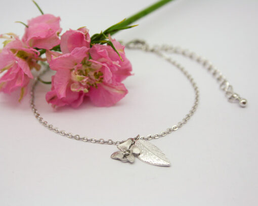 Leaf and flower charm bracelet