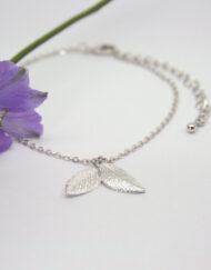Rhodium Plated Two Leaf Charm Bracelet